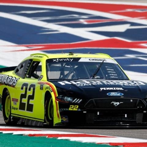 Team Penske's Austin Cindric (22) was fastest in NASCAR Xfinity Series practice Friday for the Pit Boss 250 at Circuit of The Americas.
