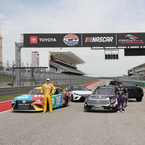 Toyota Racing drivers Kyle Busch (NCS), John Hunter Nemechek (NCWTS) and Daniel Hemric (NXS) pose for a photo alongside their Toyota stock cars and production vehicles at Circuit of The Americas in advance of next month's inaugural NASCAR at COTA race weekend.