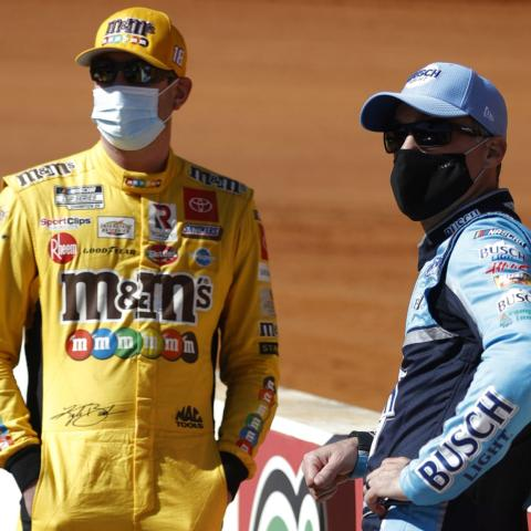 NASCAR Cup Series drivers Kyle Busch and Kevin Harvick will compete in Saturday's Pit Boss 250 NASCAR Xfinity Series race