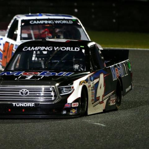 Kyle Busch Motorsports' John Hunter Nemechek (4) has scored two victories and posted five top-five finishes to lead the NASCAR Camping World Truck Series points standings early in the season. He will be one of the favorites to win the Toyota Tundra 225 Saturday at Circuit of The Americas in Austin, Texas.
