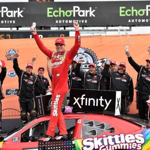 Pit Boss 250 winner Kyle Busch celebrates in Victory Lane Saturday at Circuit of The Americas after winning the NASCAR Xfinity Series race at the Austin, Texas purpose-built road course.