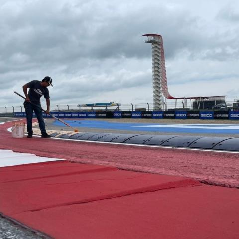 Speedway Motorsports team members used more than 5,000 gallons of paint, enough to cover 35 football fields, to get Circuit of The Americas ready for the EchoPark Automotive Texas Grand Prix NASCAR Cup Series weekend.